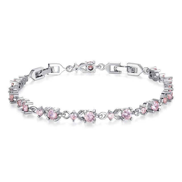 Gorgeous Platinum Plated Bracelets Paved with Brilliant pink Crystals