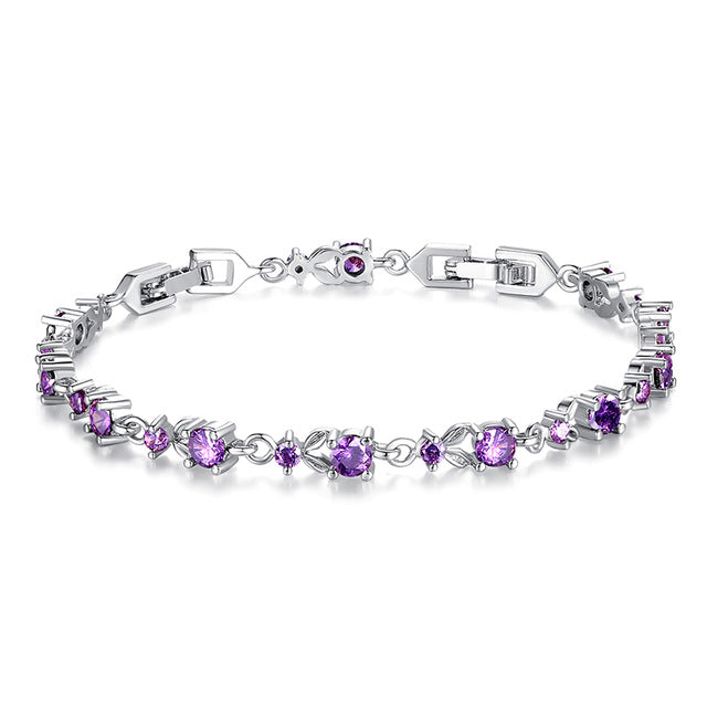 Elegance of Gemstones - 6 Color Variants of Gorgeous Platinum or Gold Plated Bracelets Paved with Brilliant Crystals