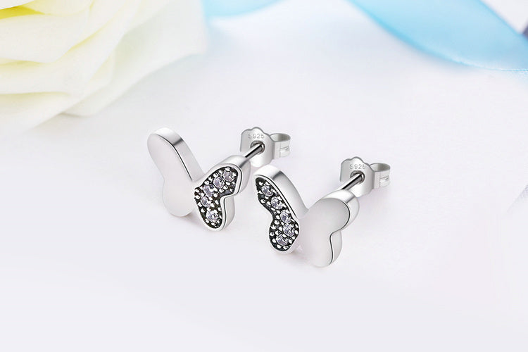 Freedom of Butterfly and Elegance of Diamonds - Stud Earrings crafted from Silver and Crystals