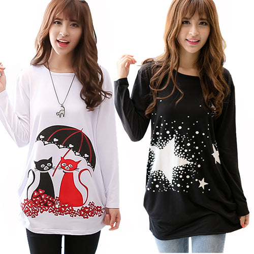 22 Designs of Long Sleeves Fashion Cartoon T Shirts/Tunic Tops for Women