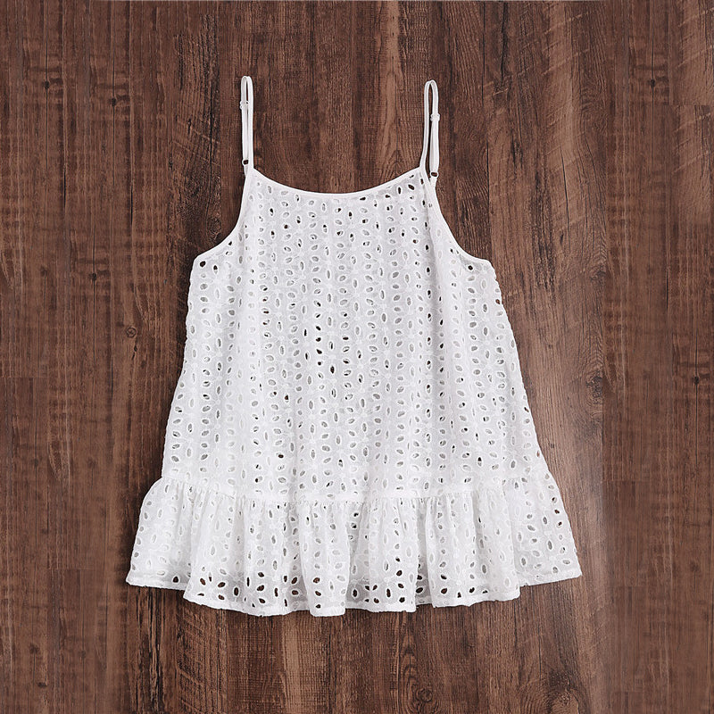 Women's Sexy Sleeveless White Top with Spaghetti Strap