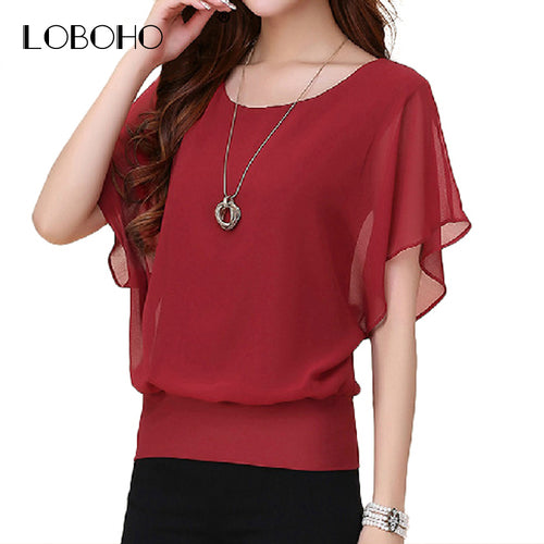 Women's Summer Chiffon Blouses in 6 Colors and S to 5XL Pus Sizes