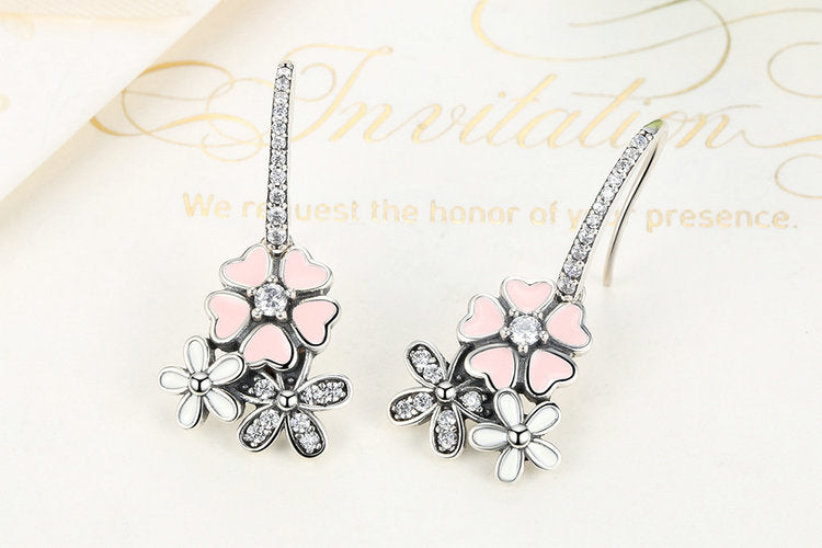 100% 925 Sterling Silver Pink Flower Poetic Daisy Cherry-Blossom Drop Earrings