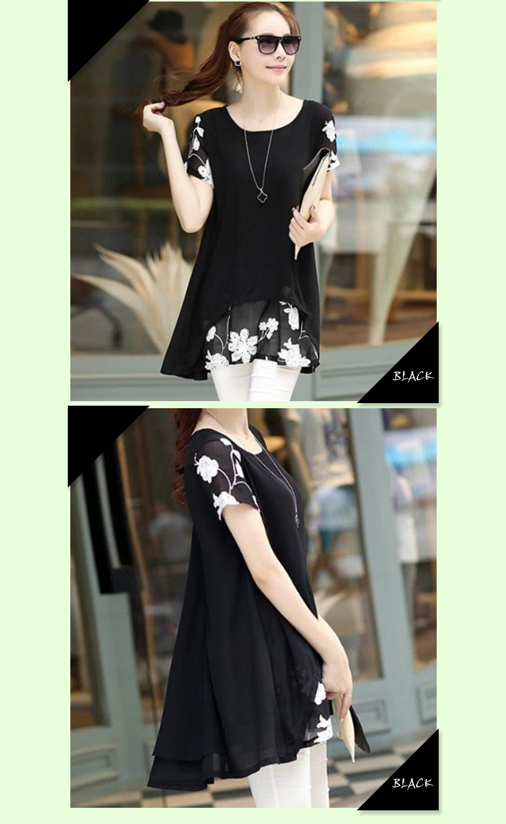 Chiffon Blouse -  Loose Short Sleeve Embroidery Flower Patchwork (Including Plus Size)