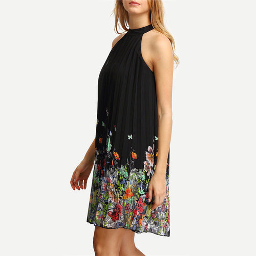 Woman's Black Round Neck Sleeveless Above Knee Summer Dress - Casual Clothing with Floral Print