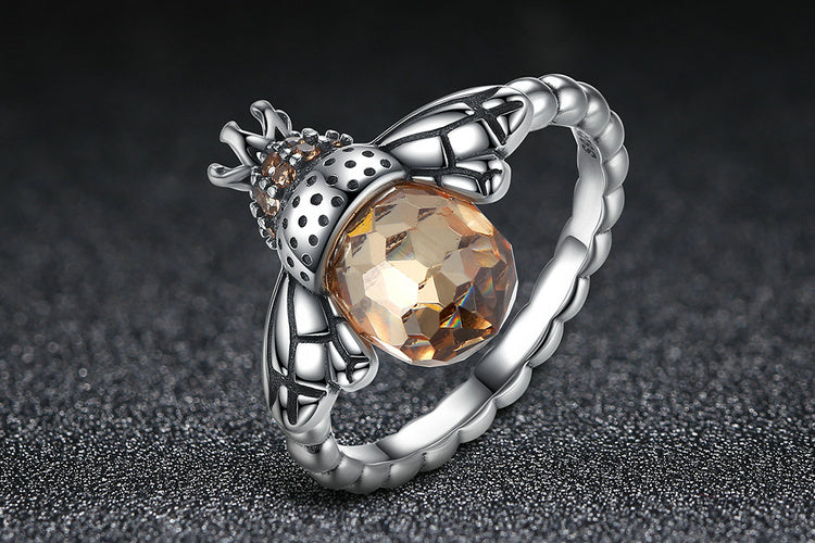 "Let the Cute ""Bee with Wings"" Sit on Your Finger - Ring Crafted with Silver and Crystals"