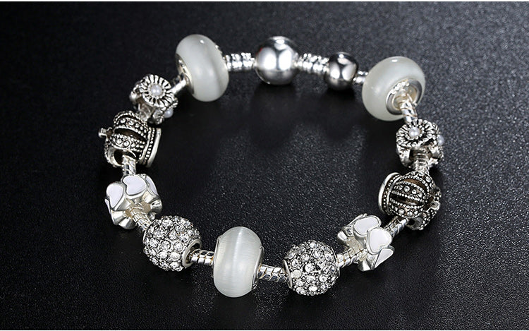 Women's Fashion Charm Bracelet with Black & White Beads