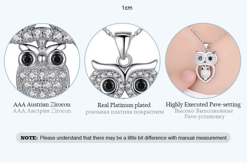 Cute Owls - White Gold Plated Pendant Necklace for Women Paved with Diamond like Clear and Black Crystals