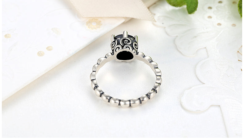 Simple, Elegant and Cute, yet the Power of Luxurious Black - Finger Ring Crafted from Silver and Crystal