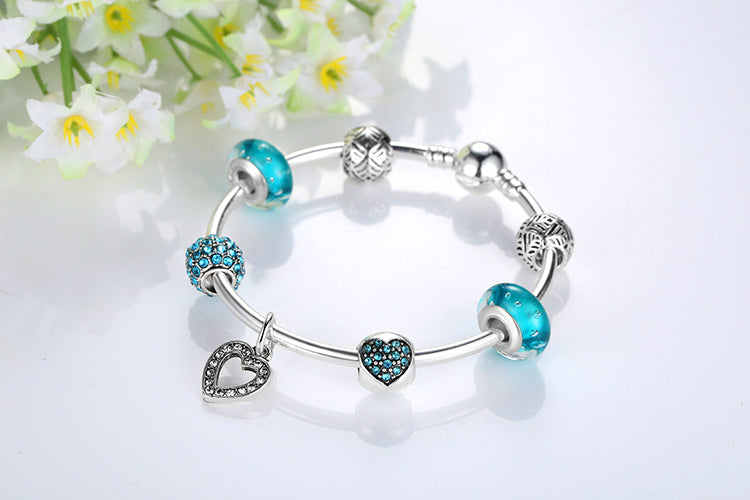Women's Lovely Bracelet in Cool Blue Beads and with  Heart Pendant