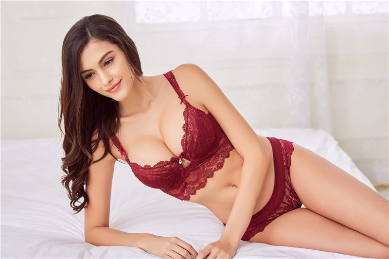 Sexy Lace Lingerie-  Padded Push-up Bra and panties Set in 3 Colors and 19 Sizes