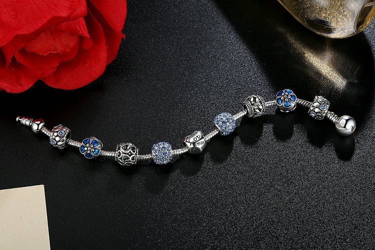 Antique Silver Charm Bracelet  with Love and Flower Crystal Balls in 3 Colors for  Women