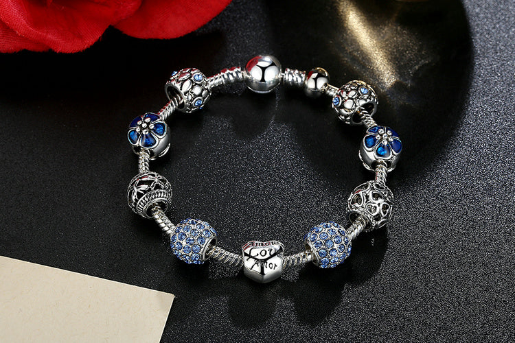 4 Color Variants of Women's Gorgeous Eye Catching Bracelet with Floral and Crystal Paved Beads
