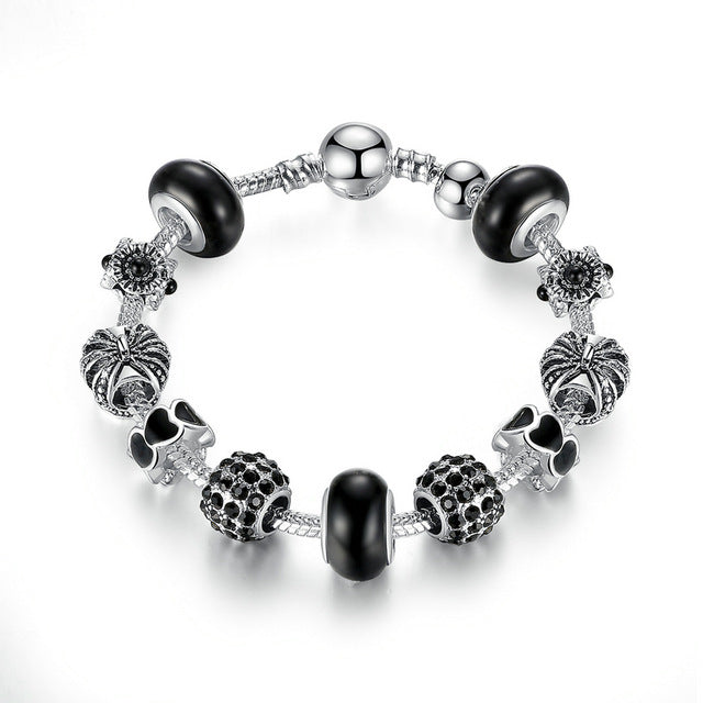 Women's Fashion Charm Bracelet with Silver Beads
