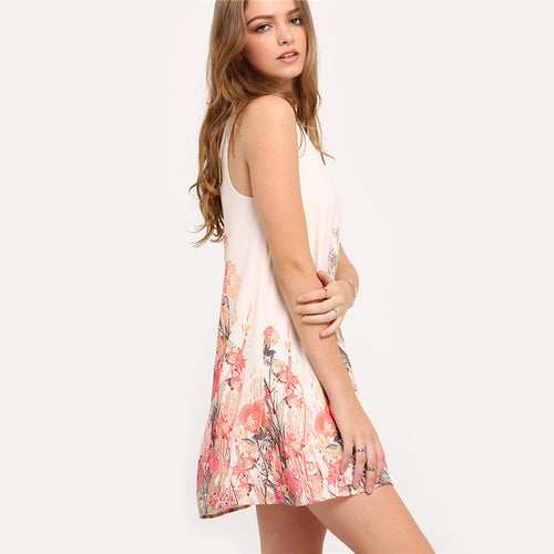 Multicolor Sleeveless Flower Print Dress