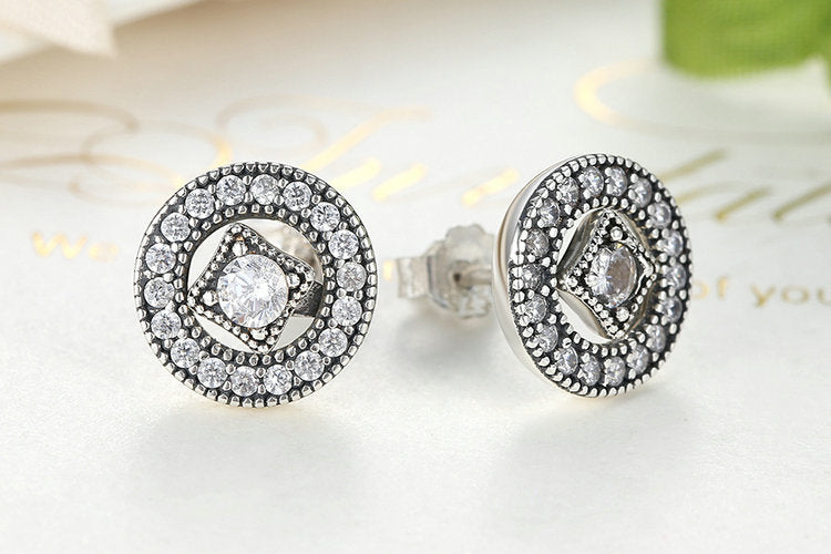 Elegant Authentic Real 925 Sterling Silver Vintage Allure, Clear CZ Stud Earrings for Women