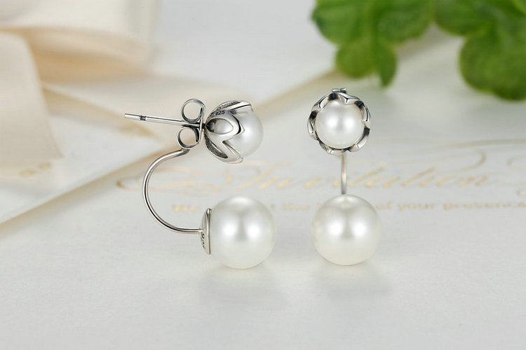 Wear in Style - Drop Earrings Crafted from Silver and Simulated Pearls
