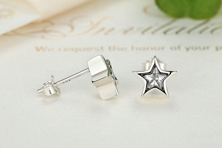 Star-Shine: Stud Earrings Crafted Beautifully from Silver and Crystals
