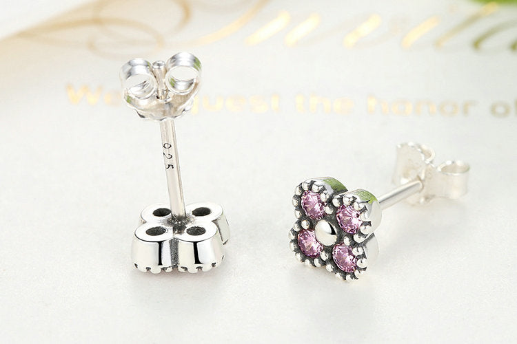 Four Cute Circles making a Clover - Lovely Earring Crafted from Silver and Pink Crystals