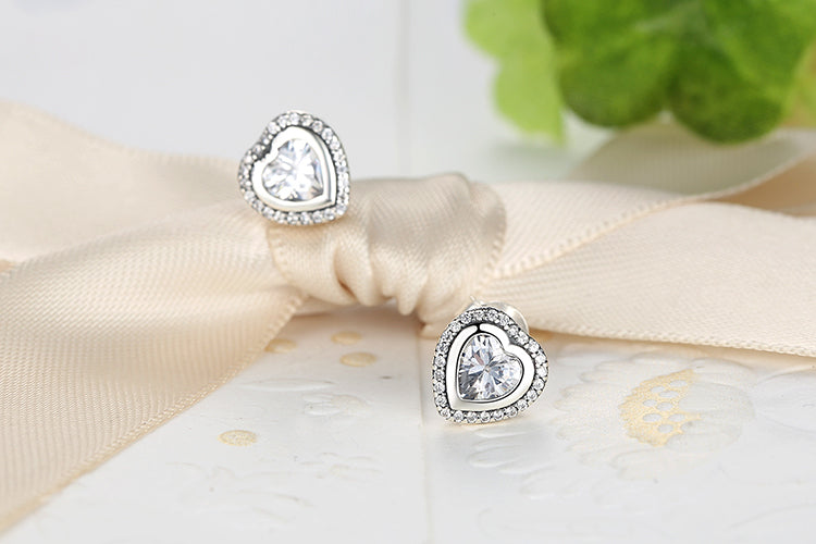 Elegance of Diamonds in the Romance of Hearts - Earrings Crafted from Silver and Crystals