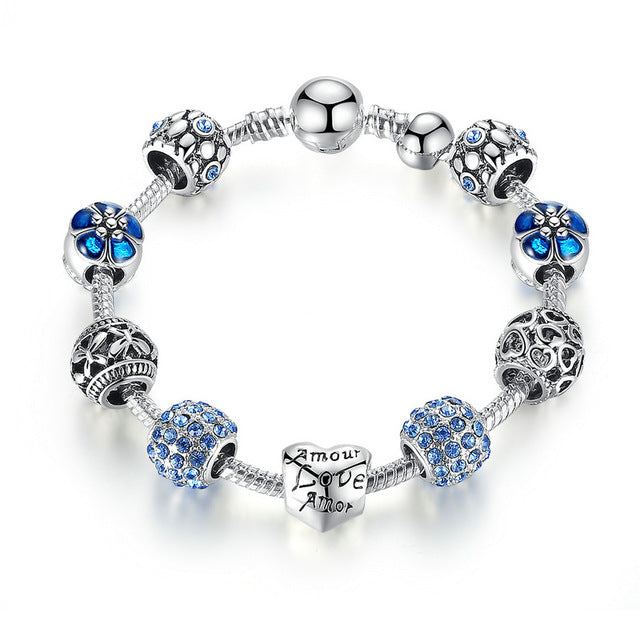 Women's Gorgeous Elegant Charm Bracelet with Floral and Crystal Paved Beads