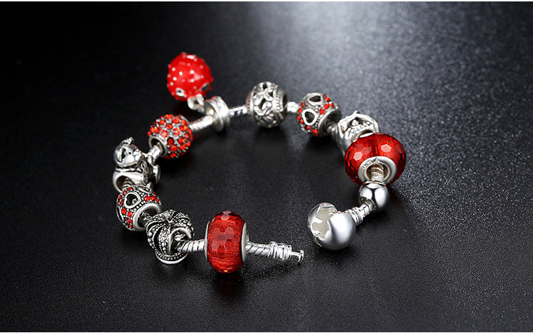 Women's Fashion Charm Bracelet with Red Beads