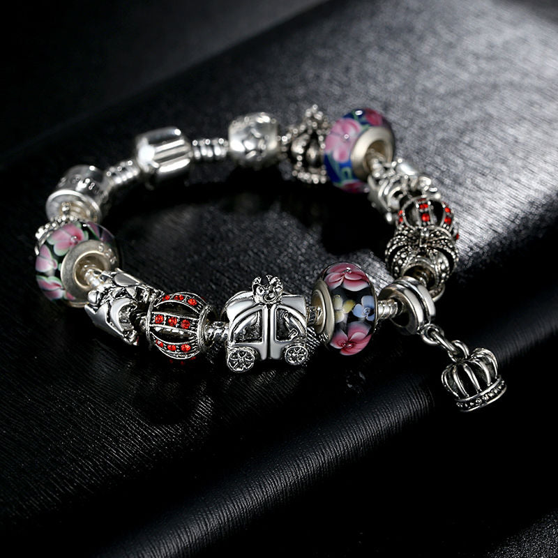 Authentic Silver Plated Charm Bracelet with Crown Pendants & Colorful Murano Beads