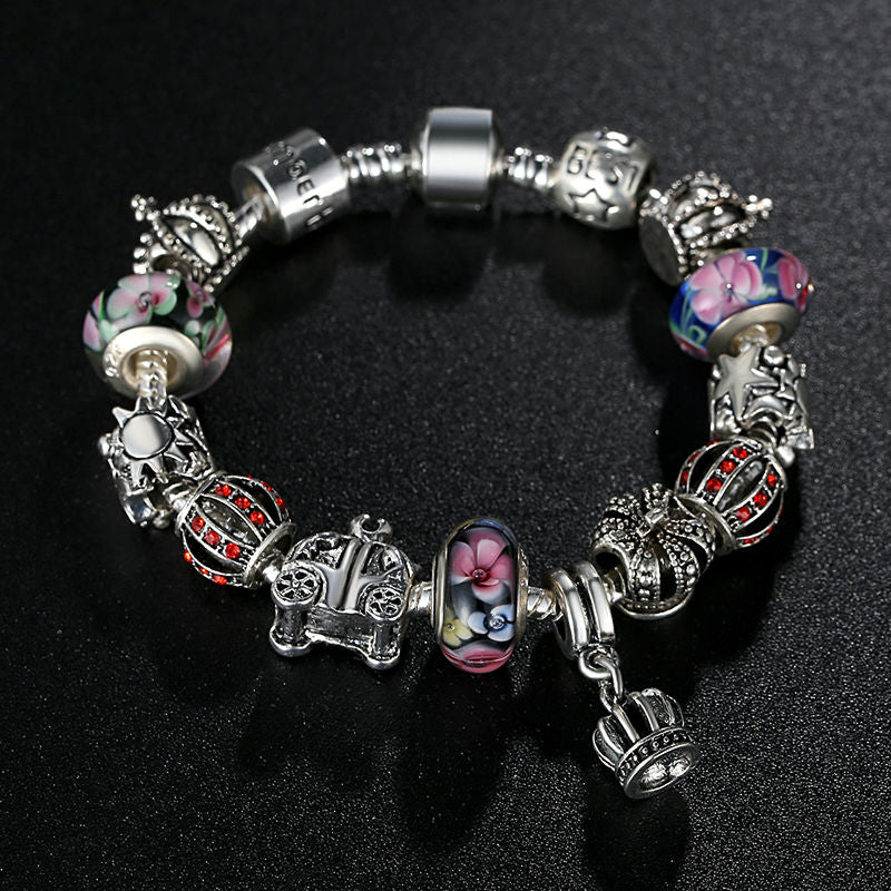 Women's Charm Bracelet with Colorful Beads a Hanging Crown