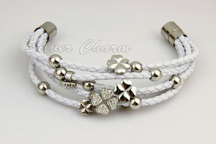 Gorgeous Leather Wrap Bracelet with Flower with Heart Shaped Petals in Black and White Colors