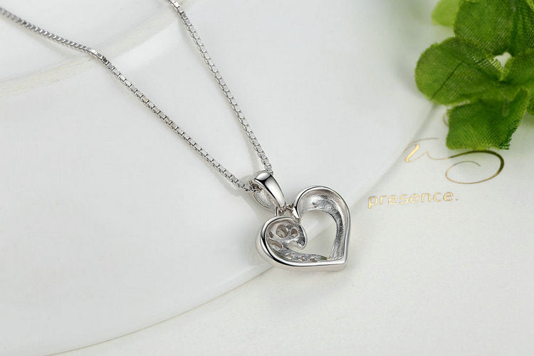 Love with Diamonds - Women's Necklace with a Stunning Heart Pendant Paved with Diamonds like Crystals on One Side