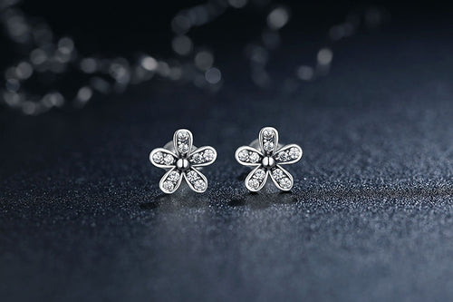 Simple yet Cute Floral Stud Earrings for Women Crafted from Silver and Crystals