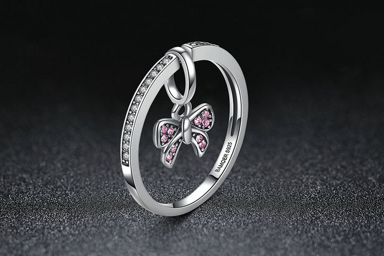 An Eye Catching Lovely Finger Ring with Butterfly Pendant - Crafted from Silver