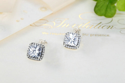Women's Elegant Small Square Stud Earrings Crafted from Silver and Crystals