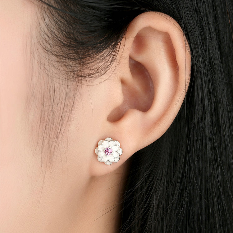 Women's Lovely White and Pink Floral, Crafted from Silver