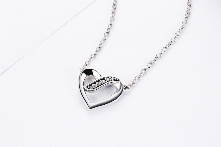Elegance of Diamonds with Love in Heart - Cute Pendant Necklace Crafted with Silver and Crystals