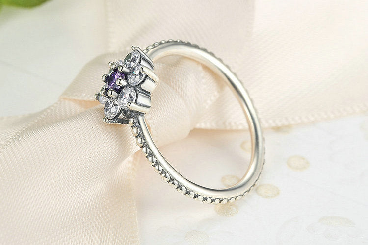 Wear the Cute Flower on Your Finger - Beautiful Ring Crafted from Silver and Crystals