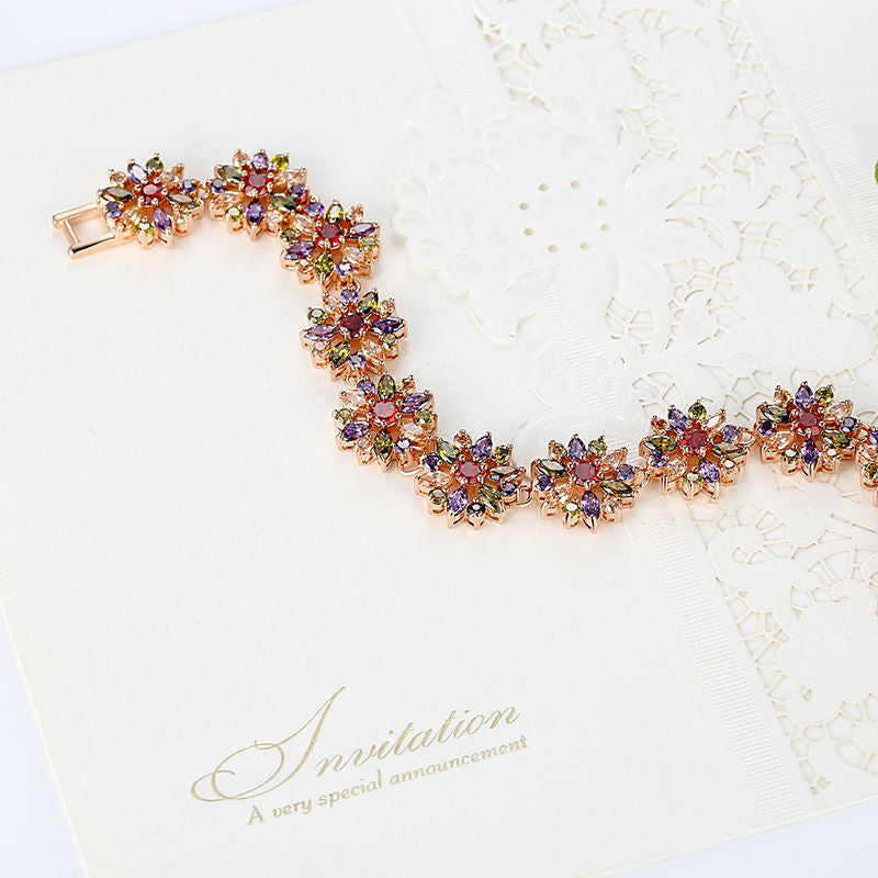 Add Colors to Life - Women's Gorgeous Gold Plated Bracelet Paved with Elegant Crystals