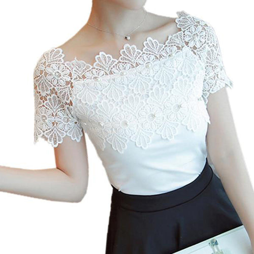 Women's Sexy Short Sleeves Lace Patchwork Blouse in White and Black Colors and 4 Sizes