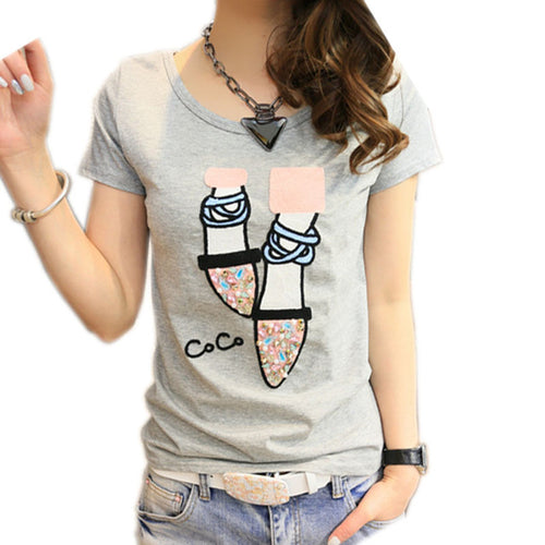 Cute T-Shirt for Women with Cute Shoes in 3 Colors and 5 Sizes