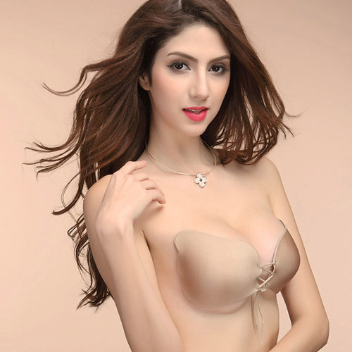 Sexy Invisible Self-Adhesive Silicone Seamless Strapless Push-Up Bra With Front Closure -  Breathable with Honeycomb Vent
