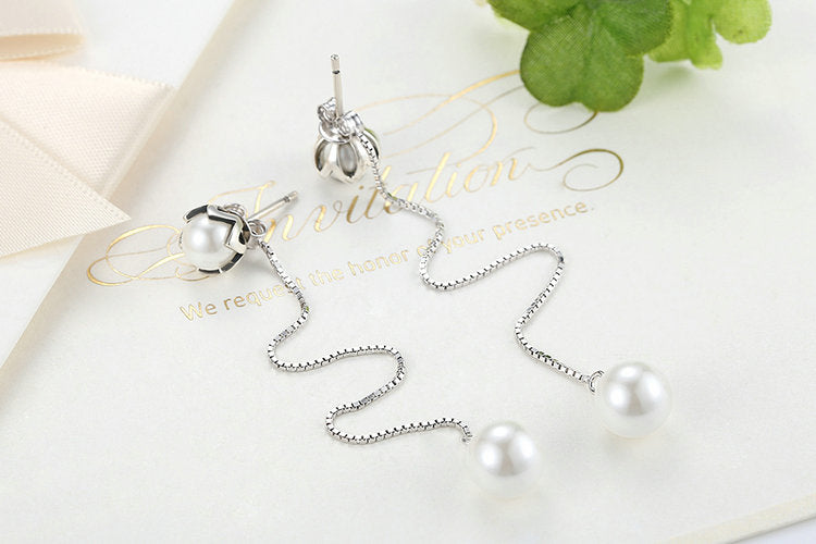 Pearl to Pearls - Classic & Lovely Long Drop Earrings for Women, Crafted with Silver and Freshwater Pearls on Both Ends