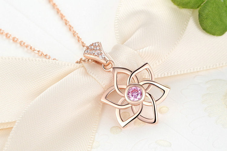Elegance of Diamonds and Pink Garnet - Gorgeous Floral Pendant Necklace Crafted from Gold Plated Silver and Elegant Crystals