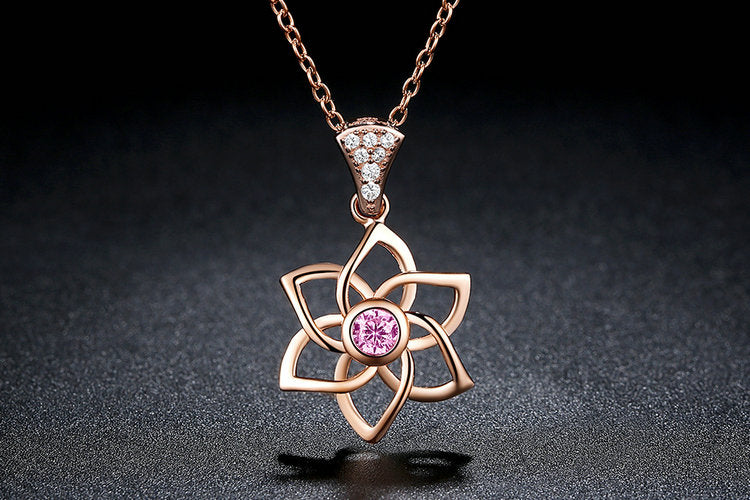Rose gold Plated Silver Flower Fashion Pendant & Necklace