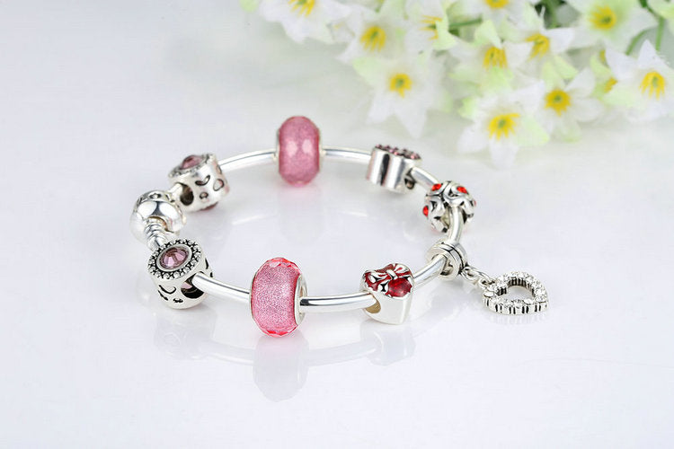 Women's Lovely Bracelet in Cute Pink & Red Beads and with Heart Pendant