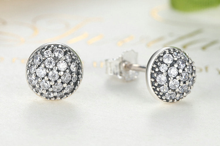 Simple Yet Elegant Silver Round Stud Earrings for Women, crafted from Silver and Crystals