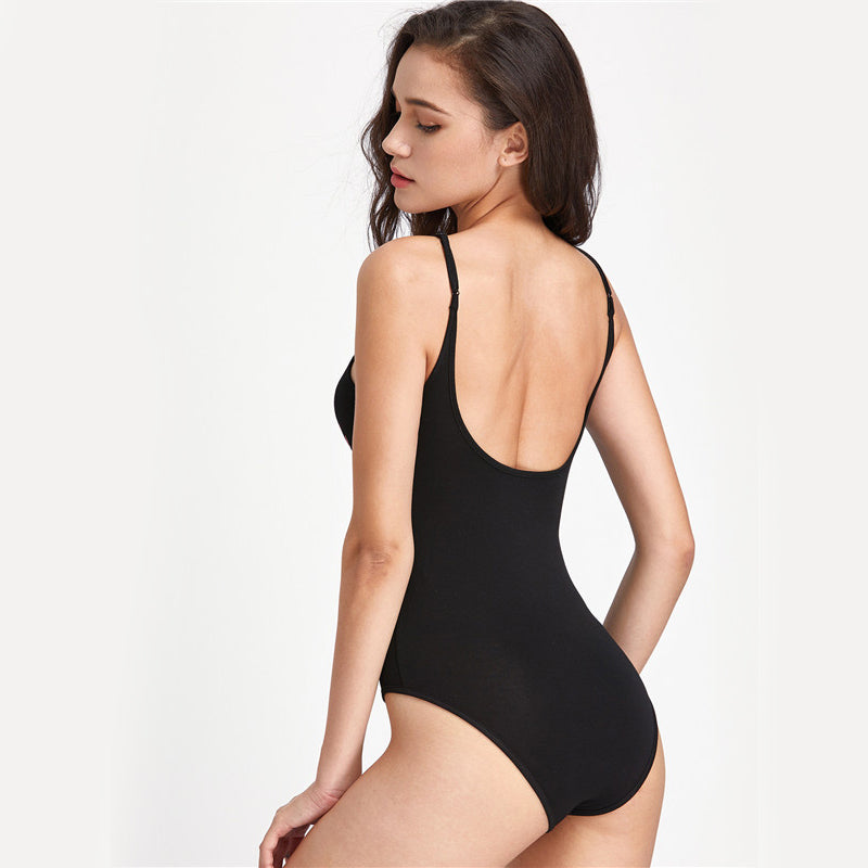 Women's Sexy Black Backless and Sleeveless Bodysuit with Graphic Print on Front