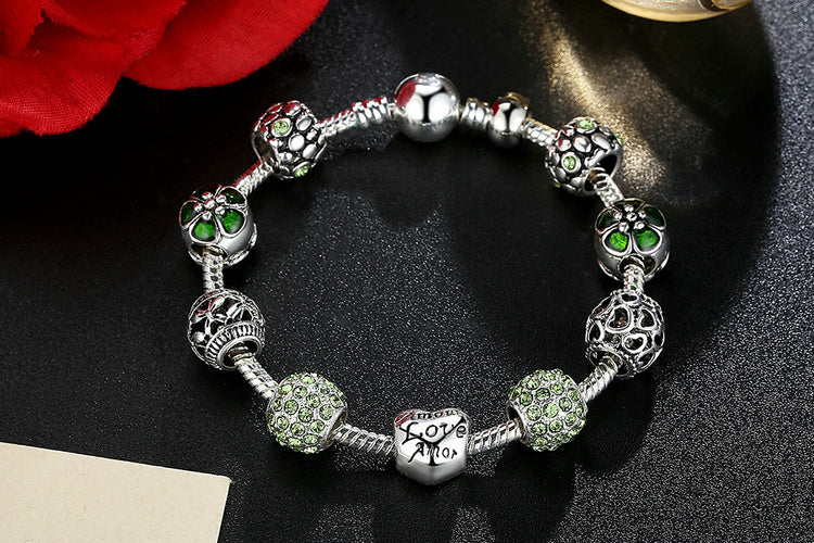 "Freedom of Green - Women's ""Cool to the Eyes"" Charm Bracelet with Cute Beads"