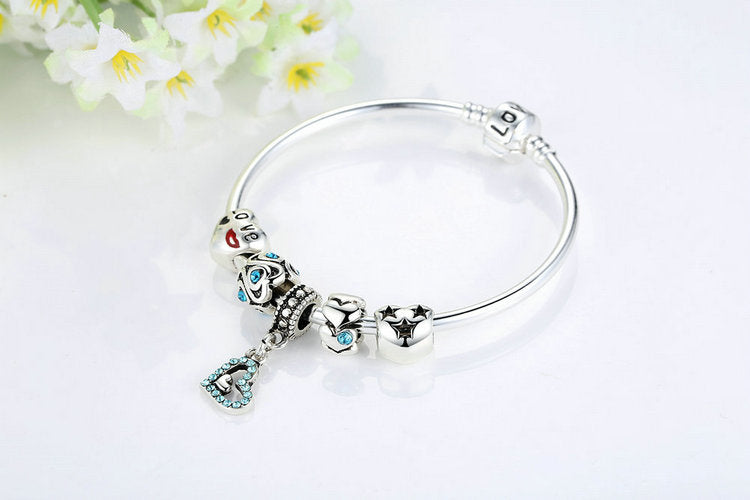 Cool Crystals and a Cute Heart - Women's Cute Beaded Bracelet