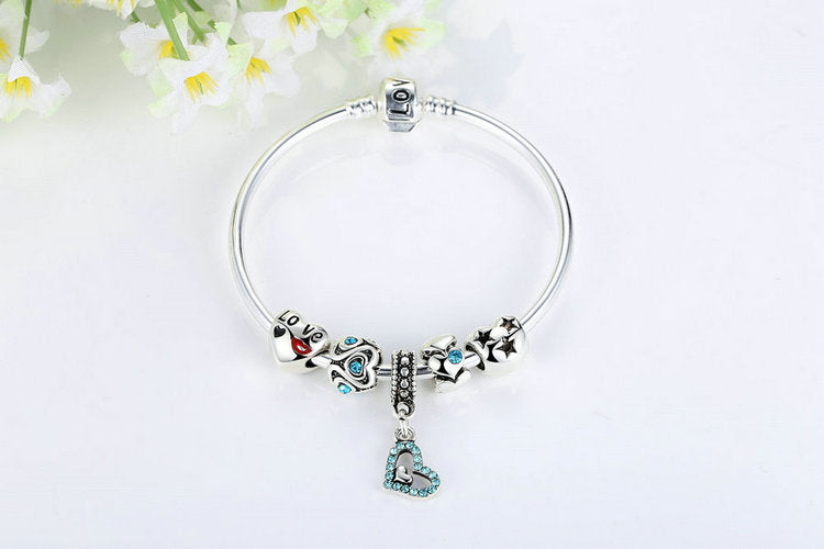 "Women's ""I Love You"" Charm Bracelet with Heart Pendant and Crystal Beads"