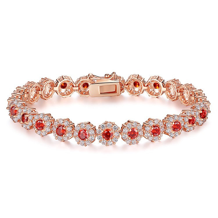 Elegance of Diamonds and Red Garnet - Gorgeous Gold Plated Bracelets Paved with Brilliant Crystals